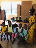 Children gathering for church